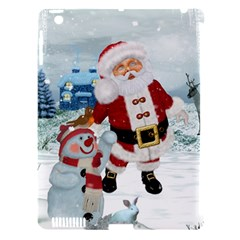 Funny Santa Claus With Snowman Apple Ipad 3/4 Hardshell Case (compatible With Smart Cover) by FantasyWorld7