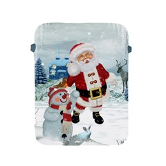 Funny Santa Claus With Snowman Apple Ipad 2/3/4 Protective Soft Cases by FantasyWorld7