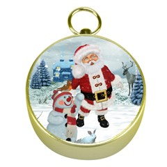 Funny Santa Claus With Snowman Gold Compasses by FantasyWorld7