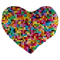 Mosaic Pattern 2 Large 19  Premium Flano Heart Shape Cushions by tarastyle