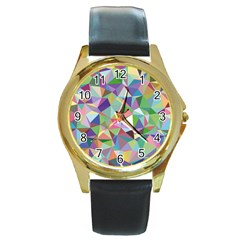Mosaic Pattern 5 Round Gold Metal Watch by tarastyle