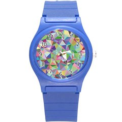 Mosaic Pattern 5 Round Plastic Sport Watch (s) by tarastyle