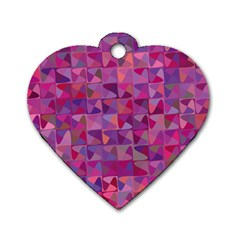 Mosaic Pattern 7 Dog Tag Heart (two Sides) by tarastyle