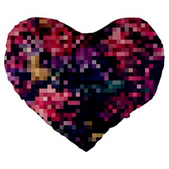 Mosaic Pattern 8 Large 19  Premium Flano Heart Shape Cushions by tarastyle