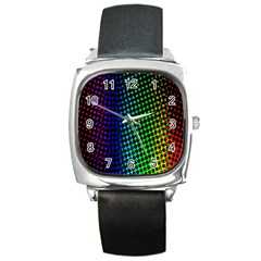 Digitally Created Halftone Dots Abstract Background Design Square Metal Watch by Nexatart