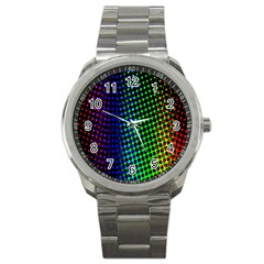 Digitally Created Halftone Dots Abstract Background Design Sport Metal Watch by Nexatart