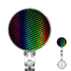 Digitally Created Halftone Dots Abstract Background Design Stainless Steel Nurses Watch