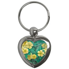 Yellow Flowers At Nature Key Chains (heart)  by dflcprints