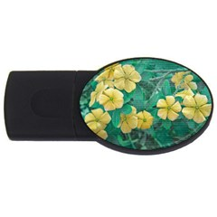Yellow Flowers At Nature Usb Flash Drive Oval (2 Gb) by dflcprints