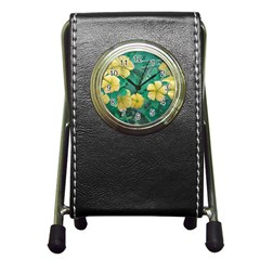 Yellow Flowers At Nature Pen Holder Desk Clocks by dflcprints