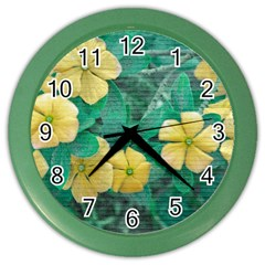 Yellow Flowers At Nature Color Wall Clocks by dflcprints