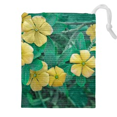 Yellow Flowers At Nature Drawstring Pouches (xxl) by dflcprints
