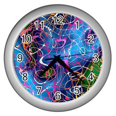Background Chaos Mess Colorful Wall Clocks (silver)