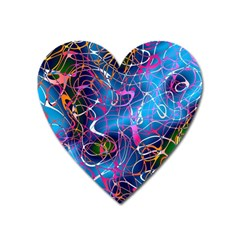 Background Chaos Mess Colorful Heart Magnet by Nexatart