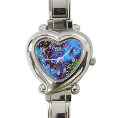 Background Chaos Mess Colorful Heart Italian Charm Watch by Nexatart