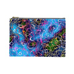 Background Chaos Mess Colorful Cosmetic Bag (large)