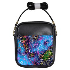 Background Chaos Mess Colorful Girls Sling Bags