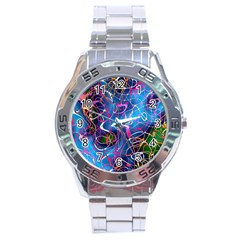 Background Chaos Mess Colorful Stainless Steel Analogue Watch