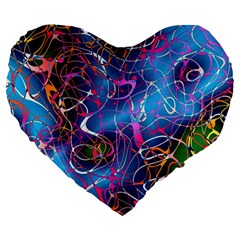 Background Chaos Mess Colorful Large 19  Premium Heart Shape Cushions by Nexatart