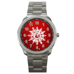 Background Christmas Star Sport Metal Watch by Nexatart