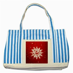 Background Christmas Star Striped Blue Tote Bag by Nexatart