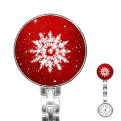 Background Christmas Star Stainless Steel Nurses Watch