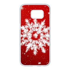 Background Christmas Star Samsung Galaxy S7 Edge White Seamless Case by Nexatart