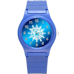Background Christmas Star Round Plastic Sport Watch (s) by Nexatart