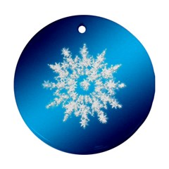 Background Christmas Star Round Ornament (two Sides)