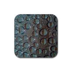 Drop Of Water Condensation Fractal Rubber Square Coaster (4 Pack)  by Nexatart