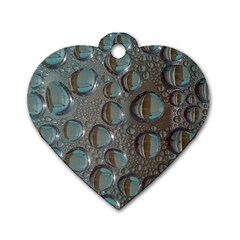Drop Of Water Condensation Fractal Dog Tag Heart (one Side)