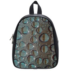Drop Of Water Condensation Fractal School Bag (small) by Nexatart