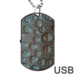 Drop Of Water Condensation Fractal Dog Tag Usb Flash (one Side) by Nexatart