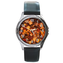 Fall Foliage Autumn Leaves October Round Metal Watch by Nexatart