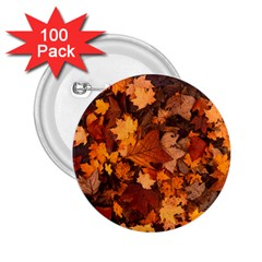 Fall Foliage Autumn Leaves October 2 25  Buttons (100 Pack)  by Nexatart