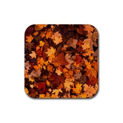 Fall Foliage Autumn Leaves October Rubber Coaster (square)  by Nexatart