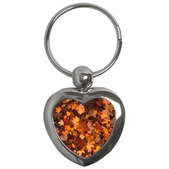 Fall Foliage Autumn Leaves October Key Chains (heart)  by Nexatart