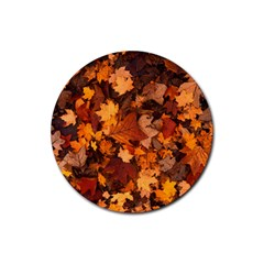 Fall Foliage Autumn Leaves October Rubber Coaster (round)