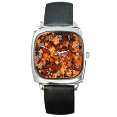 Fall Foliage Autumn Leaves October Square Metal Watch by Nexatart