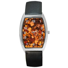 Fall Foliage Autumn Leaves October Barrel Style Metal Watch
