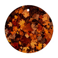Fall Foliage Autumn Leaves October Round Ornament (two Sides)