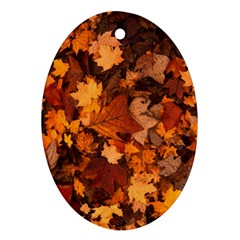 Fall Foliage Autumn Leaves October Oval Ornament (two Sides) by Nexatart