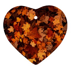 Fall Foliage Autumn Leaves October Heart Ornament (two Sides) by Nexatart