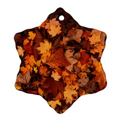 Fall Foliage Autumn Leaves October Ornament (snowflake) by Nexatart