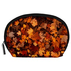 Fall Foliage Autumn Leaves October Accessory Pouches (large)  by Nexatart
