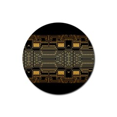 Board Digitization Circuits Rubber Coaster (round)