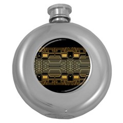 Board Digitization Circuits Round Hip Flask (5 Oz) by Nexatart
