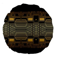 Board Digitization Circuits Large 18  Premium Round Cushions by Nexatart