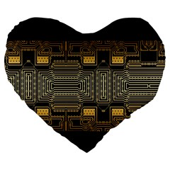 Board Digitization Circuits Large 19  Premium Flano Heart Shape Cushions by Nexatart