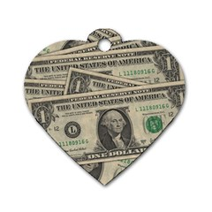 Dollar Currency Money Us Dollar Dog Tag Heart (one Side)